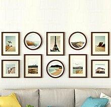 GL&G Moderne Kunst Foto Wand Wohnzimmer kreativen Rahmen Wand solide Holz Foto Wand Größe Rahmen Wand Dekoration Kombination,C