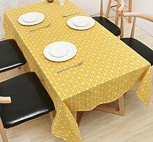 GL&G Moderne Leinen Lebensdekoration Tischdecke Tischdecke Couchtisch Tuch Mehrzweck-Deckel Tuch,yellow,140*140cm