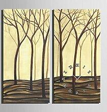 GL&G Moderne Massivholz dekorative Inkjet Wald Malerei Kreative Kunst Schlafzimmer Wohnzimmer Restaurant Cafe Wanduhr Frameless Malerei,2pcs,40*80CM