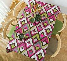 GL&G Modernes Einfaches Baumwolltisch Tuch Dickeres Leinwand Tischdecke Geometrie Dreieck Kaffeetisch Tuch Mehrzweck Abdeckung Handtuch Abdeckung Tuch,B,140*180CM