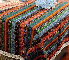 GL&G National Wind Tisch Tuch geometrische Streifen Baumwolle Leinen Tischdecke Heimtextilien Dekoration Tischdecke Mehrzweck-Deckel Tuch,A,140*140CM