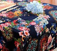 GL&G Nationale Wind Retro Blumen feine Leinen Tischdecke Haus Dekoration Staub Abdeckung Mehrzweck Abdeckung Tuch,A,60*60CM
