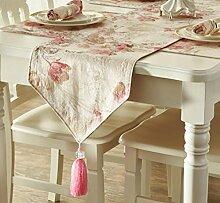 GL&G Neue europäische Pastoralmuster Tischdecke Tischläufer Fashion Modern Simple Thick Bed Runner,red,35*228cm