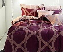 GL&G Neue matte Normallack reine Baumwollfarbköper-niedrige Überempfindlichkeit bequemes kühles breathable hochwertiges Bett vier Sätze (Steppdecke Cover × 1PC, Bett-Blatt × 1PC, Kissenbezug × 2PCS),A2,2.0m(6.6ft) bed