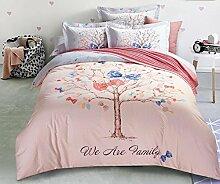 GL&G Pure Baumwolle reaktives Drucken und Färben Wolle Heimtextilien vier Sätze von Baumwollspitze Bettwäsche (Quilt cover × 1PC, Bed Sheet × 1PC, Kissenbezug × 2PCS),C5,2 meters bed