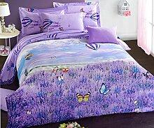 GL&G Pure Baumwolle reaktives Drucken und Färben Wolle Heimtextilien vier Sätze von Baumwollspitze Bettwäsche (Quilt cover × 1PC, Bed Sheet × 1PC, Kissenbezug × 2PCS),A3,1.5-1.8 m bed