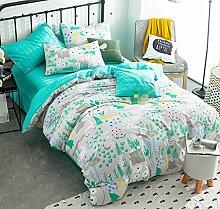 GL&G Reine Baumwollreaktive Köper-Textilgewebe vier Sätze bequeme Hauptbettwäsche (Steppdeckeabdeckung × 1PC, Bett-Blatt × 1PC, Kissenbezug × 2PCS),B3,2 meters bed