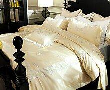GL&G Reine Baumwollsatin-Baumwollspitze-Spitze aktives Drucken niedrige Überempfindlichkeit bequemes kühles breathable weiches Bett vier Sätze (Steppdecke Cover × 1PC, Bett-Blatt × 1PC, Kissenbezug × 2PCS),A,1.5m(5ft) bed