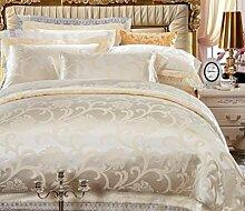 GL&G Reine Baumwollsatinjacquardwebstuhlhochzeits-Seidenspitze bequemes weiches breathable Bett vier Sätze (Steppdecke Cover × 1PC, Bett-Blatt × 1PC, Kissenbezug × 2PCS),a9,1.5m(5ft) bed