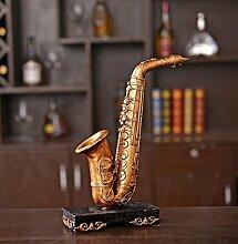 GL&G Retro-altes Saxophon Dekoration Modell bar Vitrine Metall Harz Handwerk Dekor Akzenten Ornamente saisonale Wohnkultur,22.1*7.5*28.5cm