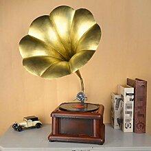 GL&G Retro-Plattenspieler kreative Dekoration Metall Phonographen Modell Handwerk schießen Requisiten Home Dekor Akzenten Tischplatte Szenen Ornamente Spieldosen,B,70*28*28cm
