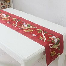 GL&G Rotes Rechteck Hochzeit canvas Baumwolle dicker Double Layer Läufer Home Dekoration Tuch Bed Tischläufer,33*160cm