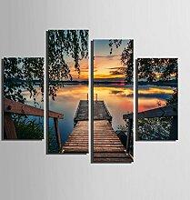GL&G See Landschaft Malerei, Vierfach dekorative Malerei rahmenlose Malerei, Wohnzimmer Esszimmer Haus Dekoration Hintergrund Wand Wandmalereien,4pcs