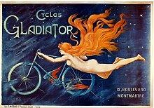 Gladiator Cycles mit Naked Frau. Old Vintage Werbung, Reiten in Sky with stars. Für Zuhause, Schuppen, Garage, pub, Bar oder Restaurant. Metall/Stahl Wandschild, stahl, 20 x 30 cm