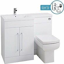 Glänzend Weiß links Hand Waschbecken 1100mm L Shaped Badezimmer Waschtisch Waschbecken Unterschrank inkl. Zapfhahn