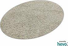 Glam HEVO® Hochflor Shaggy Teppich grau mit klassischer Kettelkante 125x195 cm Ellipse