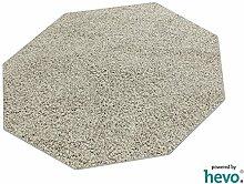 Glam HEVO® Hochflor Shaggy Teppich grau mit klassischer Kettelkante 200x200 cm Achteck