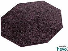 Glam HEVO® Hochflor Shaggy Teppich lila mit klassischer Kettelkante 200x200 cm Achteck