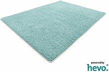 Glam HEVO® Hochflor Shaggy Teppich türkis mit klassischer Kettelkante 200x200 cm