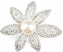 Glamour Anstecker Diamantblume mit Perle Glas-Metall , silber ca. D:5,5cm/H:2,5cm