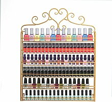 Glamouröses Nagellack-Regal für Salon, Goldfarbenes Metall, zur Montage and der Wand, 6Ebenen für Nagellack, für 120Fläschchen Nagellack oder ätherische Öle