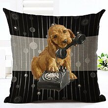 Glareshop Süße Katze Hund Muster Leinen Überwurf Kissen Fall Sofa Bett Home Auto Decor Kissenbezug, Leinen, 9#, One Sizde