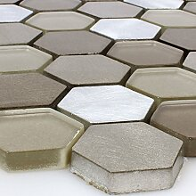 Glas Aluminium Mosaik Angela Hexagon Braun Silber