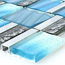 Glas Aluminium Mosaik Blau Silber Mix