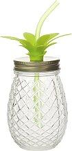 Glas Ananas mit Strohhalm aus Glas