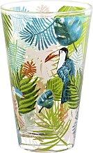 Glas bedruckt mit Tukan/Dschungelmotiv