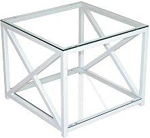 Glas Beistelltisch in Weiß Metall Sicherheitsglas