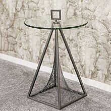 Glas Beistelltisch rund Bügelgestell aus Metall