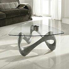 Glas Couchtisch in Grau Stein