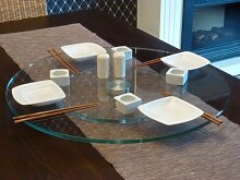Glas Drehplatte Drehteller ASIA SUSHI Klarglas