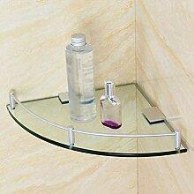 Glas Eckregal, mit Aluminiumschiene und