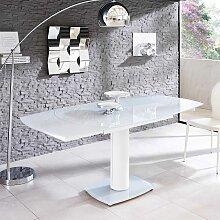 Glas Esszimmertisch in Weiß ausziehbar