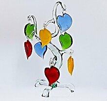Glas Figur Glastier für Vitrine Baum mit Herzen