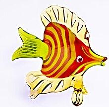 Glas Figur Glastier für Vitrine Fisch Rot Grün