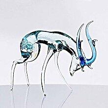 Glas Figur Glastier für Vitrine Hirsch