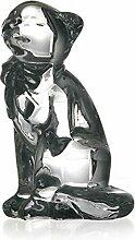 Glas Figur Tier Statue für Vitrine Katze Sitzend