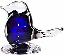 Glas Figur Vögel Spatz 8 cm Blau Handgemachtes