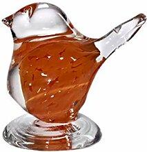 Glas Figur Vögel Spatz 8 cm Orange Handgemachtes