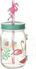 Glas Flamingo mit Strohhalm aus Glas