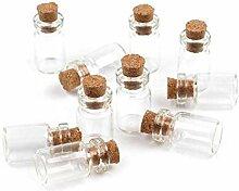 Glas-Flasche Mit Kork-Verschluss 2,5x1,3cm-Set
