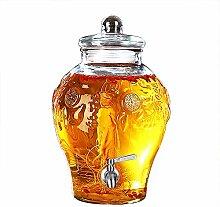 Glas-Getränkespender mit Zapfen, Holzständer und