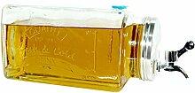 Glas Getränkespender mit Zapfhahn 3l
