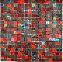 Glas Glasmosaik braun rot Wand Boden Küche Dusche