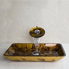 Glas Handbemalte Toilette Bad Messing Set