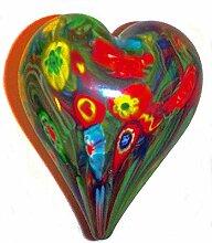 Glas-Herz Glasdekoration Kunterbunt Briefbeschwerer