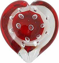 Glas-Herz Glasdekoration Rosenrot Briefbeschwerer